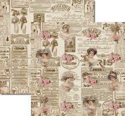 SC-130 Damas Newspaper 2 - Papel para Scrapbook Dupla Face