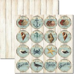 SC-289 Tags Beach 2 - Papel para Scrapbook Dupla Face