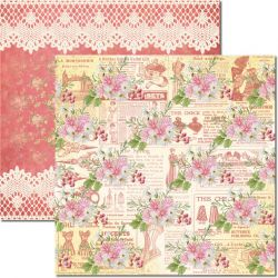 SC-554-Costura 5 - Papel para Scrapbook Dupla Face